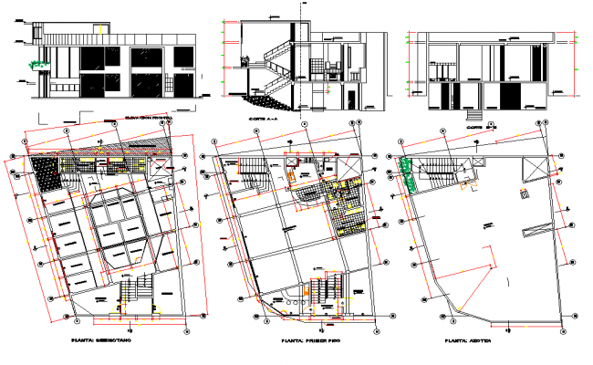 Commercial floor plan and elevation with architecture view dwg file