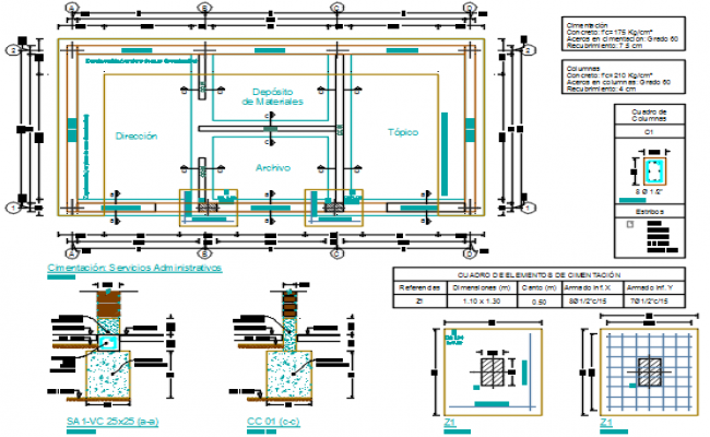 Commercial foundation working plan detail dwg file