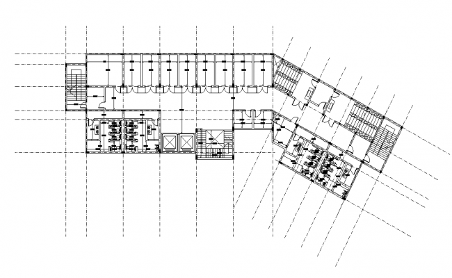 Commercial hall building detail 2d view layout plan