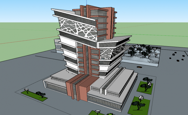 Commercial high rise building 3d view skp file