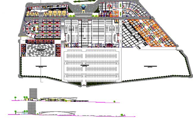 Commercial multi-flooring building auto-cad details dwg file
