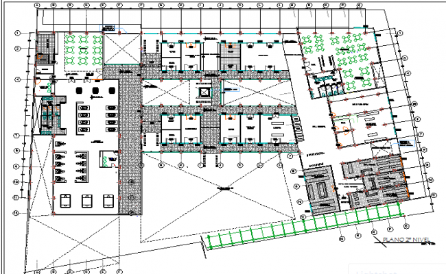 Commercial office building architecture layout plan details dwg file