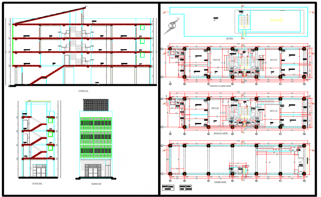 Commercial office building detail plan view dwg file