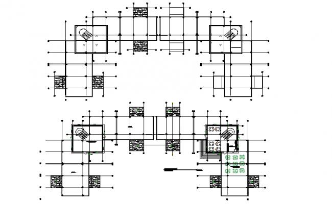 Commercial office centre line plan detail dwg file