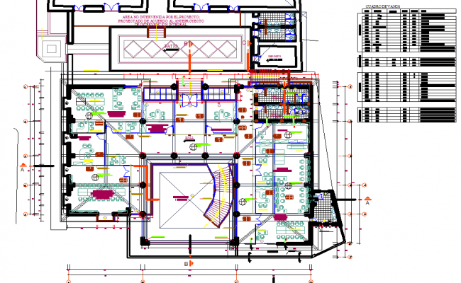 Commercial plan and elevation layout detail dwg file
