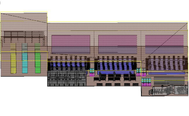 Commercial plan detail 3D view detail dwg file