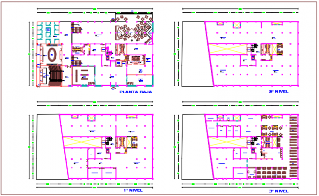 Commercial plan detail of ground floor plan dwg file