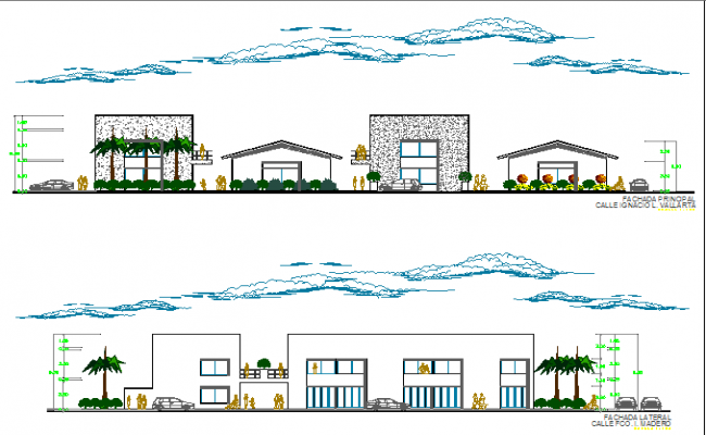 Commercial plaza front elevation and sectional details dwg file