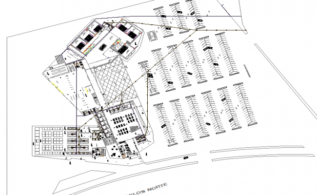 Commercial popular center landscaping and structure details dwg file