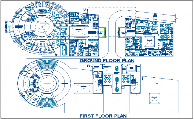 Commercial round shape building plan layout plan detail dwg file