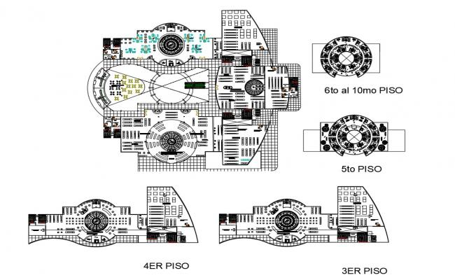 Commercial shopping center building 10 floor layout plan details dwg file