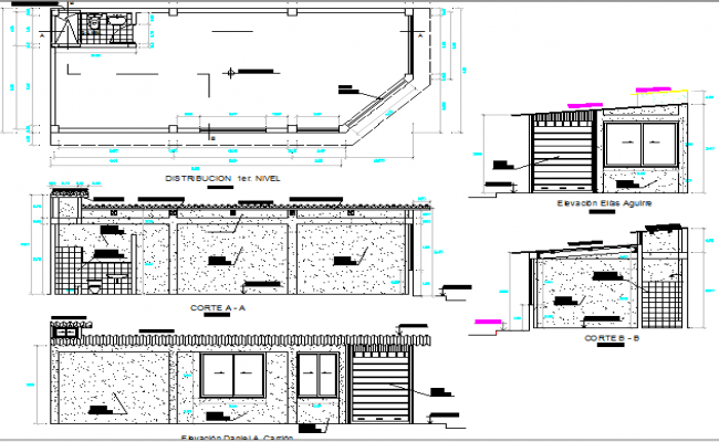 Commercial store elevation, section and plan details dwg file