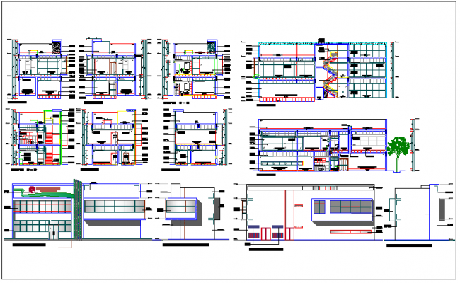 Commercial structure floor plan & elevation section view detail dwg file