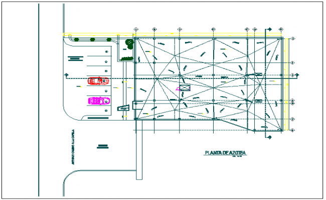 Commercial structure ground parking floor plan view detail dwg file