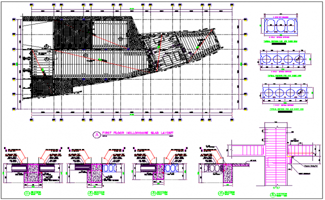 Commercial structure plan detail and structure detail view dwg file