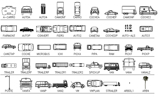 Common and multiple blocks of vehicle design dwg file