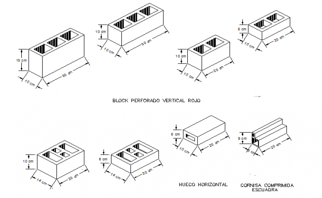 Common blocks design of hollow design dwg file