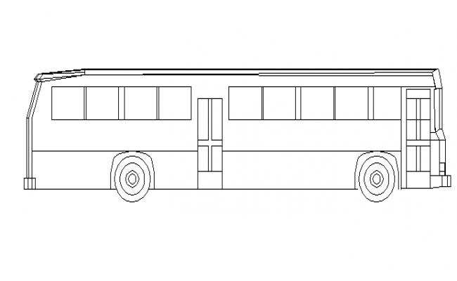 Common bus side elevation cad block details dwg file