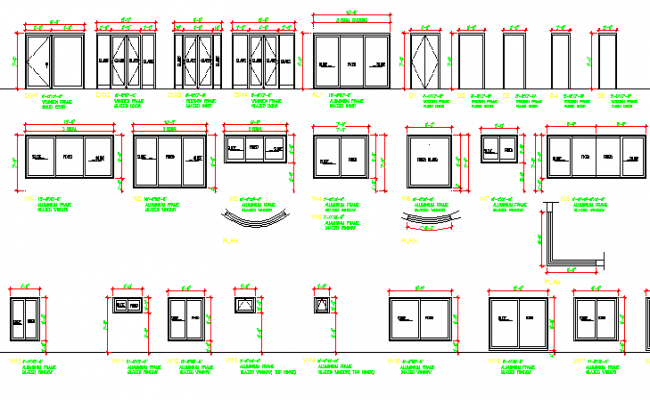 Common doors and windows elevation details dwg file