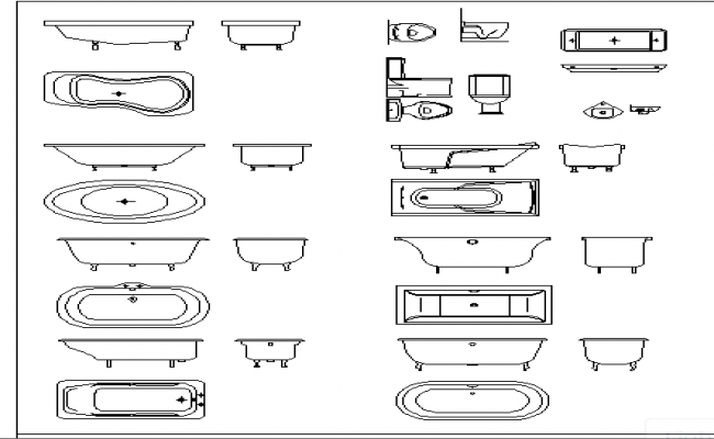 Common modern sanitary ware blocks design dwg file