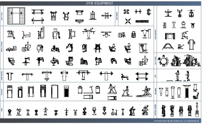 Common multiple gym equipment blocks design dwg file
