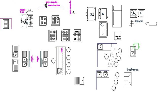 Common multiple kitchen furniture blocks cad drawing details dwg file