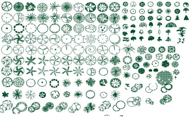 Common multiple plant blocks details dwg file