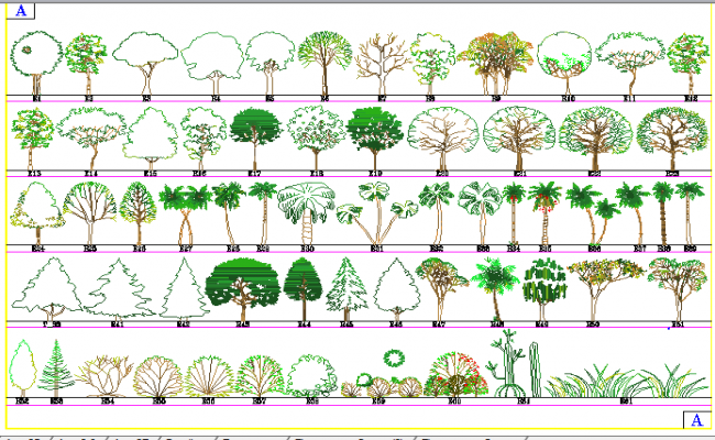 Common multiple tree blocks design dwg file