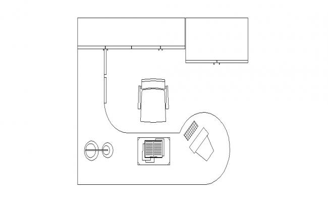 Common office desk top view elevation cad drawing details dwg file