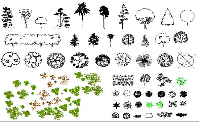 Common tree and plant blocks design dwg file