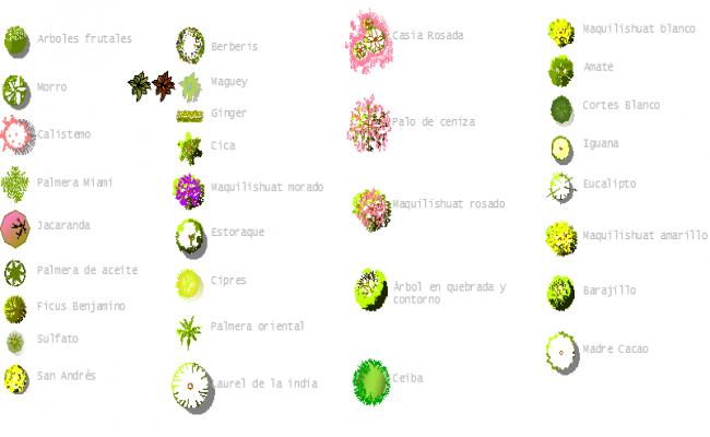 Common tree blocks and symbols dwg file