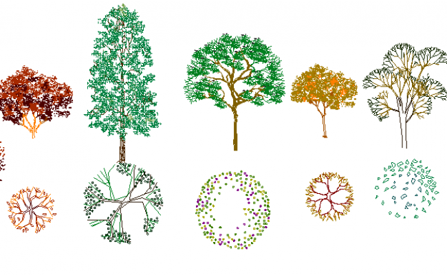 Common tree blocks details dwg file