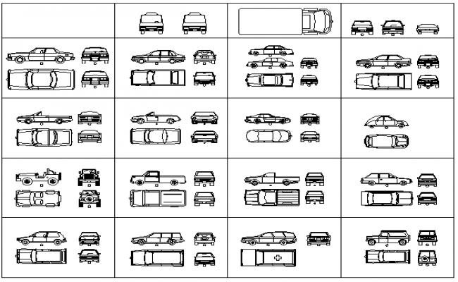 Common vehicles blocks design details dwg file