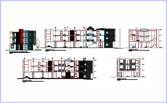 Community center elevation and section view dwg file