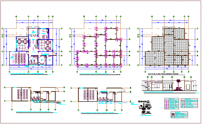 Community development center plan, sanitary,hydraulic, column view dwg file