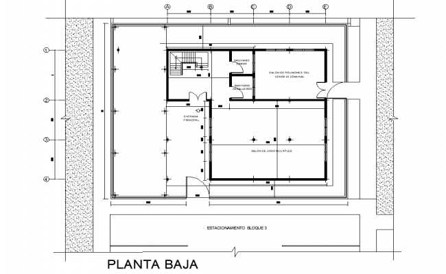 Community house plan detail dwg file