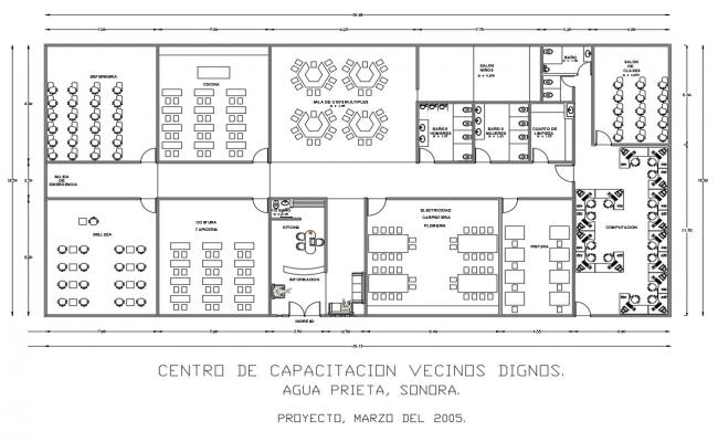Community training center architecture layout plan details dwg file
