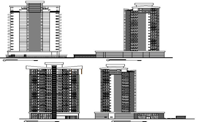 Company office department tower all sided elevation view dwg file