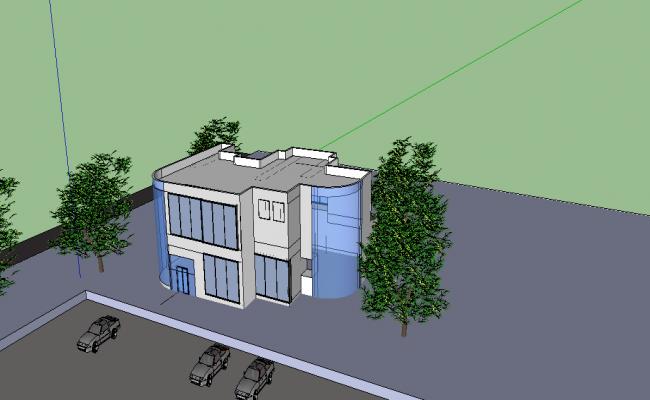 Complete elevation detail of building dwg file