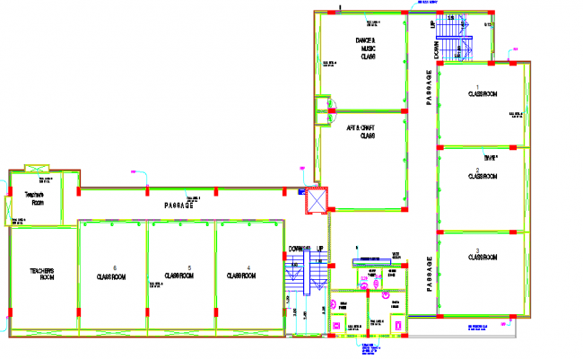 Complete layout of  a school dwg file