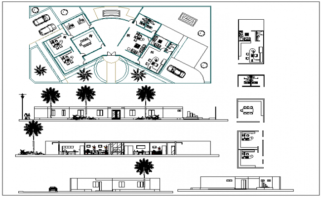 Complete layout plan of a office and elevation dwg file