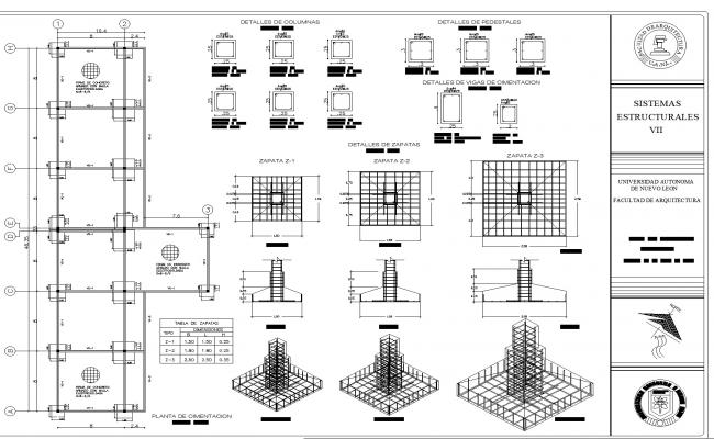 Complete plan of foundation dwg file