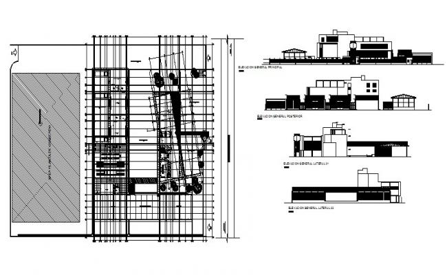 Modern Commercial Building Elevation In DWG File