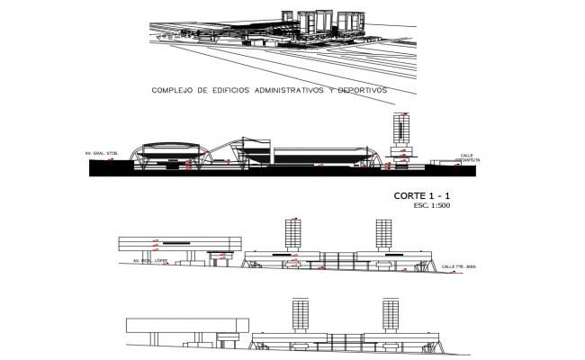Complex of administrative and sports buildings elevation and section details dwg file