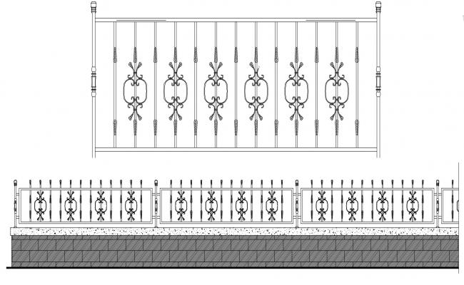 Compound Boundary Wall iron Fencing Railing Design CAD Drawing