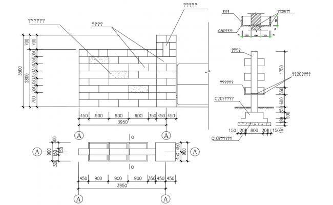 Compound Wall Design AutoCAD File Free