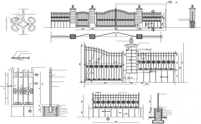 Compound Wall Gate With Railing DWG File