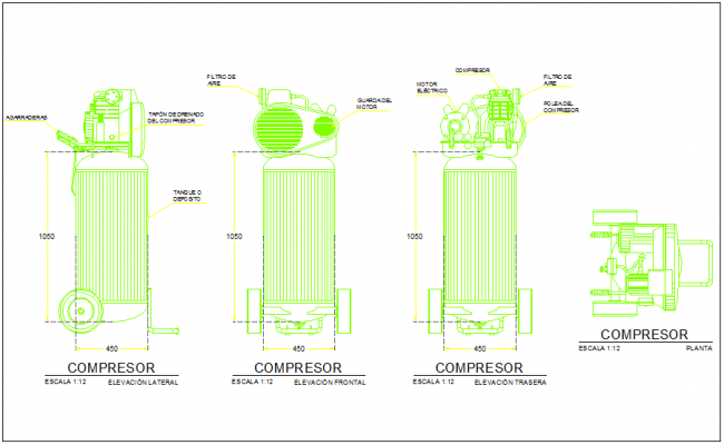 Compressor Elevation with necessary detail dwg file