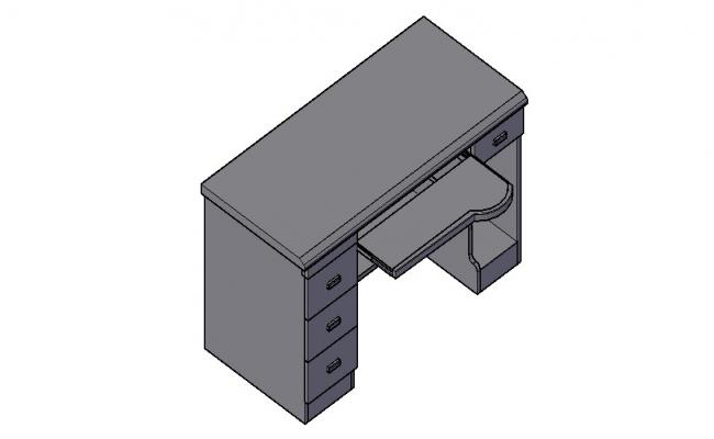 Computer Table 3D Model In DWG File