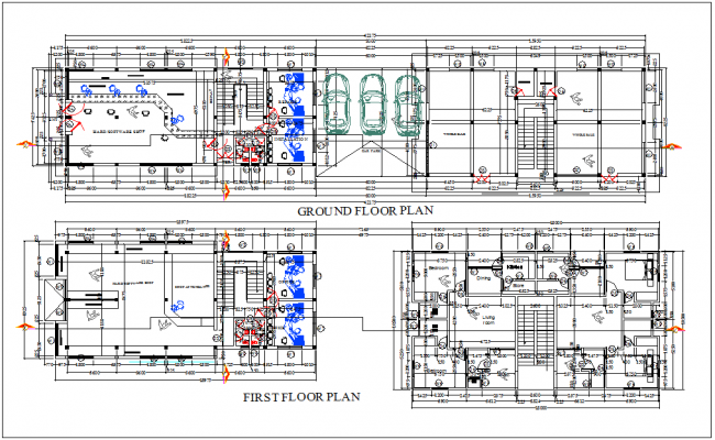 Computer hardware and software business center ground floor and first floor plan dwg file